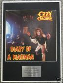 OZZY OSBOURNE - Framed LP Cover - DIARY OF A MADMAN
